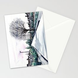 Quiet Road in Autumn, Watercolour Painting Stationery Cards