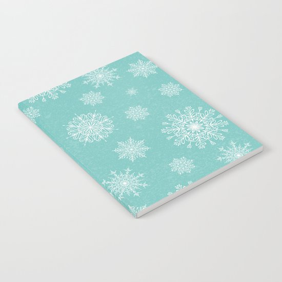 Assorted Snowflakes On Turquoise Backround Notebook