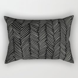 Herringbone Cream on Black Rectangular Pillow