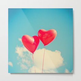 Heart Balloons and the Cloudy Sky Metal Print