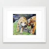 tigers Framed Art Prints featuring Tigers by Irene Jaramillo