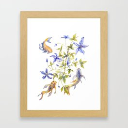 Clematis and Koi Fish Water Magic Framed Art Print