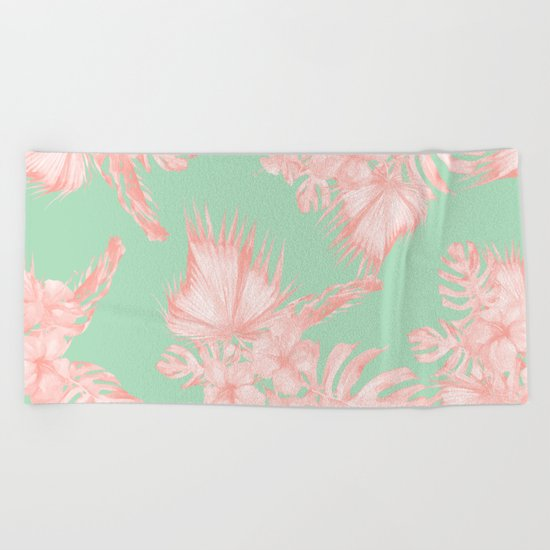 Dreaming of Hawaii Seashell Pink + Light Green Beach Towel