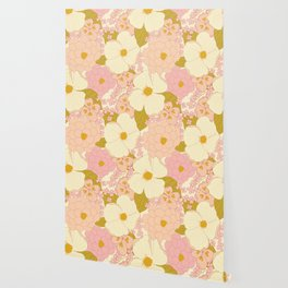 Pink Pastel Vintage Floral Pattern Wallpaper