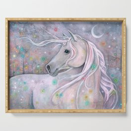 Twinkling Lights Unicorn Fantasy Watercolor Art by Molly Harrison Serving Tray