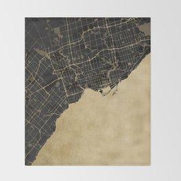Toronto Gold and Black Street Map Throw Blanket
