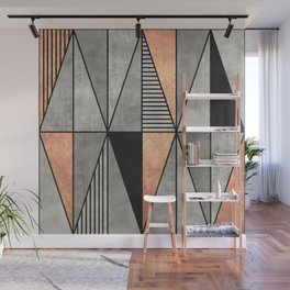Concrete and Copper Triangles Wall Mural