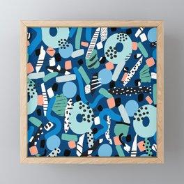 CIRCLES IN MOTION - GREEN/ BLUE brush stroke Framed Mini Art Print