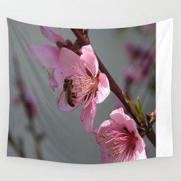 Honey Bee On Open Peach Tree Blossom Wall Tapestry
