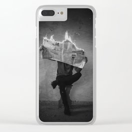 News on Fire (Baclk and White) Clear iPhone Case