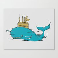 submarine Canvas Prints featuring SUBMARINE by yamini