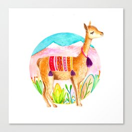 Llama andina Canvas Print