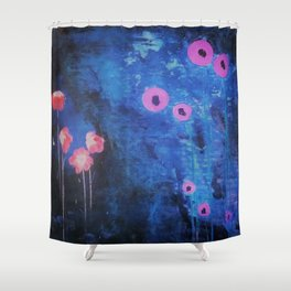 Abstract Vibrant Blue Flower Painting by Jodi Tomer. Blue, Abstract Shower Curtain