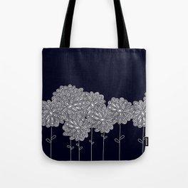 White Chrysanthemums on Blue Tote Bag