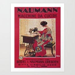 Vintage poster - Naumann Sewing Machine Art Print