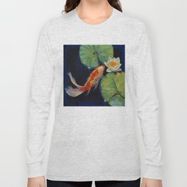 Koi and White Lily Long Sleeve T-shirt