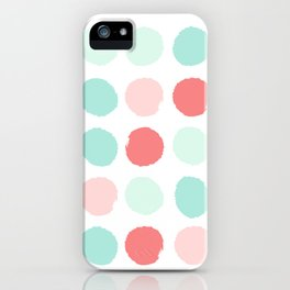 Painted dot abstract trendy colors gender neutral seaside coral tropical minimal iPhone Case