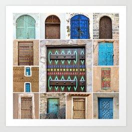 Saudi Doors Square Collage Art Print