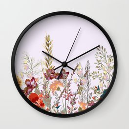 Spring field pattern with poppy and cosmos flowers Wall Clock