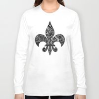 fleur de lis Long Sleeve T-shirts featuring Fleur De Lis on White by Riaora Creations