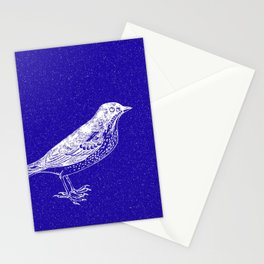 Blue Bird in the Snow Stationery Cards