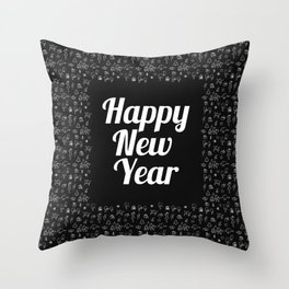 Happy New Year Pattern Throw Pillow