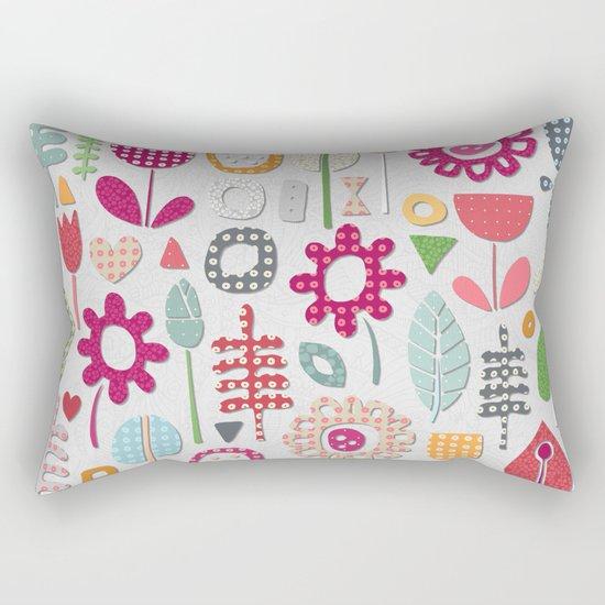 paper cut flowers silver Rectangular Pillow