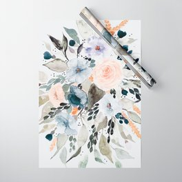 Loose Blue and Peach Floral Watercolor Bouquet  Wrapping Paper