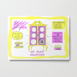 My Plate Collection, Illustration, art print, colourful cabinet, rainbow, digital print, A4/A3, home Metal Print