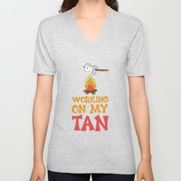 Working on My Tan Graphic Marshmallow Camping T-shirt Unisex V-Neck