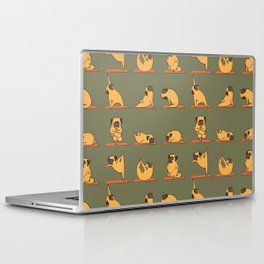 Pug Yoga In Khaki Laptop & iPad Skin
