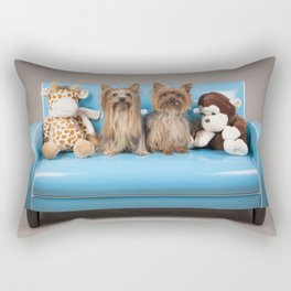 Dogs on retro blue couch Rectangular Pillow