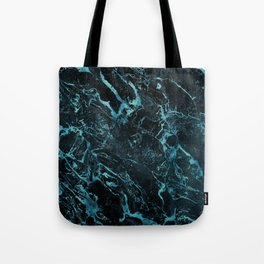 Black & Teal Color Marble Tote Bag