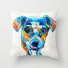 Colorful Little Dog Pop Art by Sharon Cummings Throw Pillow