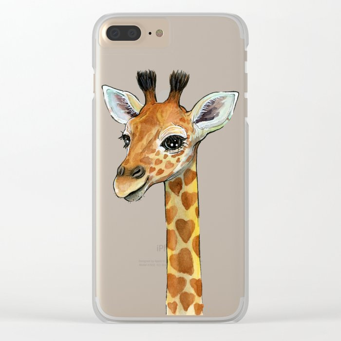 Giraffe Baby Animal with Hearts Watercolor Cute Whimsical Animals Nursery Clear iPhone Case
