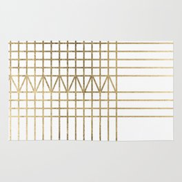 Modern white faux gold abstract geometrical lines Rug