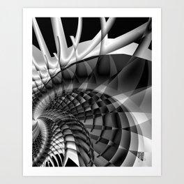Architecture 101 fractal spiral structure, black, white Art Print