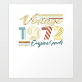 "camiseta vintage con texto en inglés """" made in 1972 heart 47th birthday"""" Art Print"