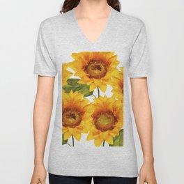 Design Five Sunflower on white Background Unisex V-Neck