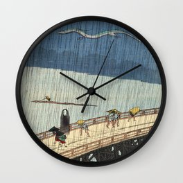 No face and Haku woodblock mashup Wall Clock