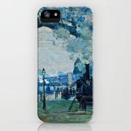 Claude Monet - Arrival Of The Normandy Train, Gare Saint Lazare iPhone Case