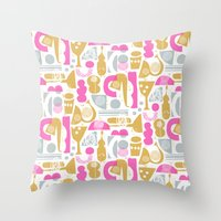 funky Throw Pillows featuring funky jazz by ottomanbrim