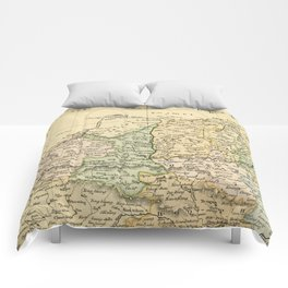 Vintage Map of The North Of China Comforters