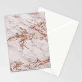 Trendy elegant rose gold glitter gray marble Stationery Cards