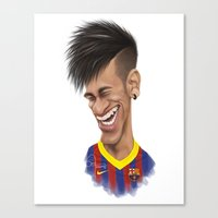 neymar Canvas Prints featuring Neymar - Barcelona by Sant Toscanni