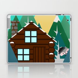 Winter cabin in the woods Laptop & iPad Skin