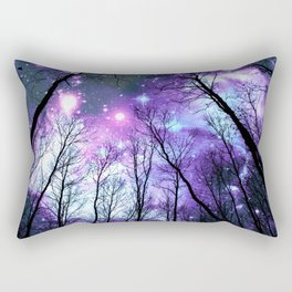 Black Trees Lavender Pink Blue Space Rectangular Pillow