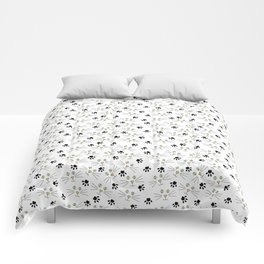 Cute Minimal Kitty Cat Faces and Paw Prints on White Comforters