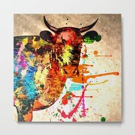 Cow Grunge Metal Print