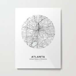 Atlanta Circle Map Metal Print